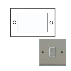 2 Gang 4 Module Euro Cover Plate Satin Nickel Raised Plate with White Trim Victorian Elite