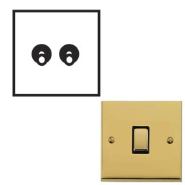 2 Gang 2 Way 20A Dolly Switch Polished Brass Raised Plate and Toggle Switch Victorian Elite