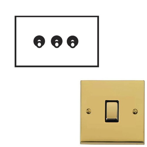 3 Gang 2 Way 20A Dolly Switch Polished Brass Raised Plate and Toggle Switch Victorian Elite