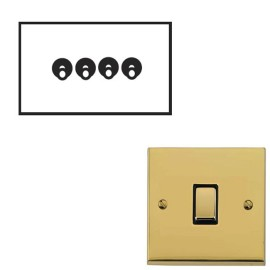 4 Gang 2 Way 20A Dolly Switch Polished Brass Raised Plate and Toggle Switch Victorian Elite