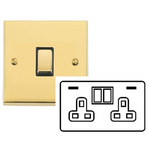 2 Gang 13A Socket with 2 USB Sockets Raised Polished Brass Plate and Rockers with White Plastic Insert Victorian Elite