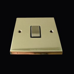 1 Gang 2 Way 10A Rocker Switch in Polished Brass Raised Plate with Black Trim Victorian Elite