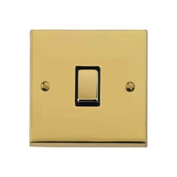 1 Gang 2 Way 10A Switch in Polished Brass Low Profile Plate and Black Trim, Richmond Elite