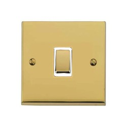 1 Gang 2 Way 10A Rocker Switch in Polished Brass Raised Plate with White Trim Victorian Elite