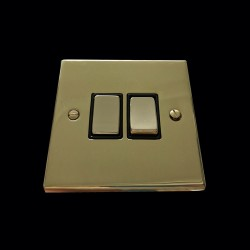 2 Gang 2 Way 10A Rocker Switch in Polished Brass Raised Plate with Black Trim Victorian Elite