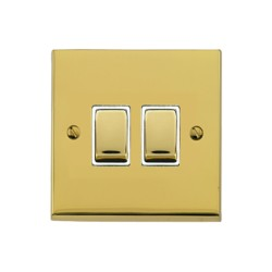 2 Gang 2 Way 10A Rocker Switch in Polished Brass Raised Plate with White Trim Victorian Elite
