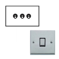 3 Gang 2 Way 20A Dolly Switch Polished Chrome Raised Plate and Toggle Switch Victorian Elite