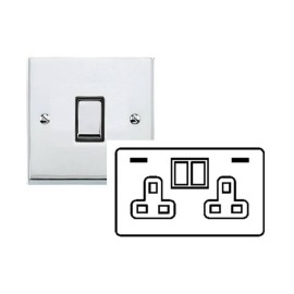 2 Gang 13A Socket with 2 USB Sockets Raised Polished Chrome Plate and Rockers with White Plastic Insert Victorian Elite