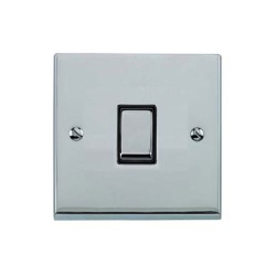 1 Gang 2 Way 10A Rocker Switch in Polished Chrome Raised Plate with Black Trim Victorian Elite
