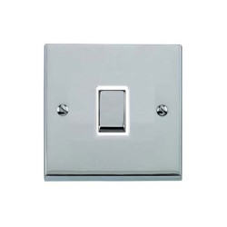 1 Gang 2 Way 10A Rocker Switch in Polished Chrome Raised Plate with White Trim Victorian Elite