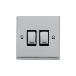 2 Gang 2 Way 10A Rocker Switch in Polished Chrome Raised Plate with Black Trim Victorian Elite