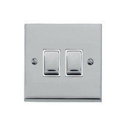 2 Gang 2 Way 10A Rocker Switch in Polished Chrome Raised Plate with White Trim Victorian Elite