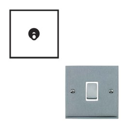 1 Gang 2 Way 20A Dolly Switch Satin Chrome Raised Plate and Toggle Switch Victorian Elite