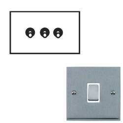 3 Gang 2 Way 20A Dolly Switch Satin Chrome Raised Plate and Toggle Switch Victorian Elite