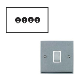 4 Gang 2 Way 20A Dolly Switch Satin Chrome Raised Plate and Toggle Switch Victorian Elite