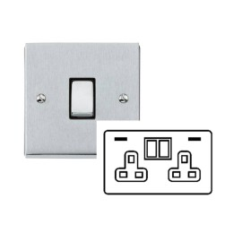 2 Gang 13A Socket with 2 USB Sockets Raised Satin Chrome Plate and Rockers with White Plastic Insert Victorian Elite
