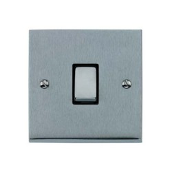 1 Gang 2 Way 10A Rocker Switch in Satin Chrome Raised Plate with Black Trim Victorian Elite