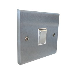 1 Gang 2 Way 10A Rocker Switch in Satin Chrome Raised Plate with White Trim Victorian Elite
