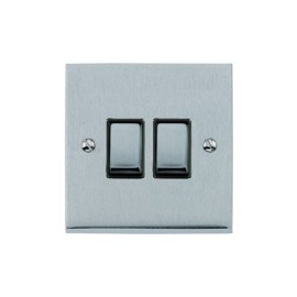 2 Gang 2 Way 10A Rocker Switch in Satin Chrome Raised Plate with Black Trim Victorian Elite
