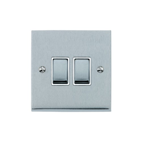 2 Gang 2 Way 10A Rocker Switch in Satin Chrome Raised Plate with White Trim Victorian Elite