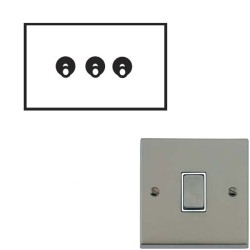 3 Gang 2 Way 20A Dolly Switch Satin Nickel Raised Plate and Toggle Switch Victorian Elite