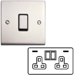 2 Gang 13A Socket with 2 USB Sockets Raised Satin Nickel Plate and Rockers with White Plastic Insert Victorian Elite