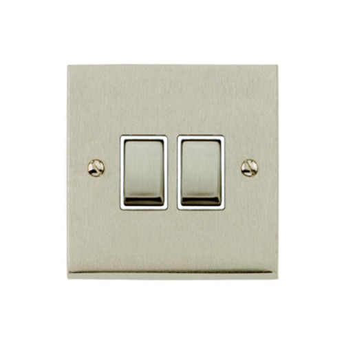 2 Gang 2 Way 10A Rocker Switch in Satin Nickel Raised Plate with White Trim Victorian Elite