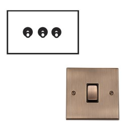 3 Gang 2 Way 20A Dolly Switch Antique Brass Plate and Toggle Raised Plate Victorian Elite