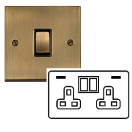 2 Gang 13A Socket with 2 USB Sockets Raised Antique Brass Plate and Rockers with Black Insert Victorian Elite