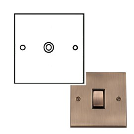 1 Gang Non-Isolated TV/Coaxial Socket Antique Brass Raised Plate Black Trim Victorian Elite