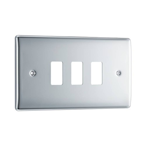 Nexus Grid Front Plate for 3 Grid Modules in Polished Chrome, Nexus Grid System, BG Nexus RNPC3 (Cover Plate Only)