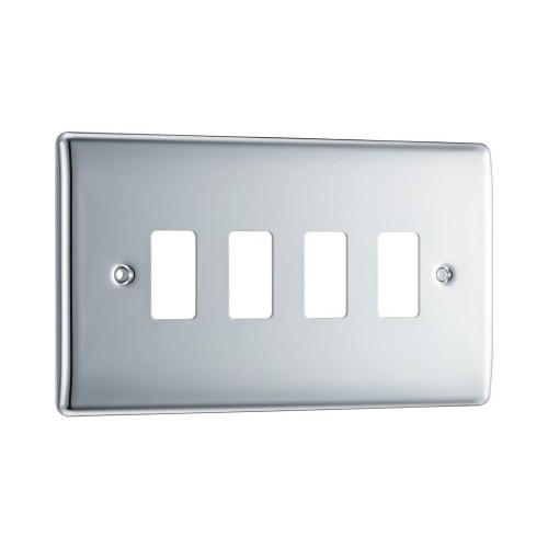Nexus Grid Front Plate for 4 Grid Modules in Polished Chrome, Nexus Grid System, BG Nexus RNPC4 (Cover Plate Only)