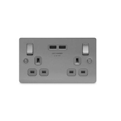 2 Gang 13A Switched Socket with 2x type A USB Charger Sockets 3.1A Brushed Steel with Grey Insert Flat Plate BG Nexus SBS22U3G