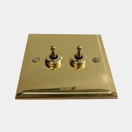 2 Gang 2 Way 20A Dolly Switch in Polished Brass Plate and Dolly, Elite Stepped Flat Plate