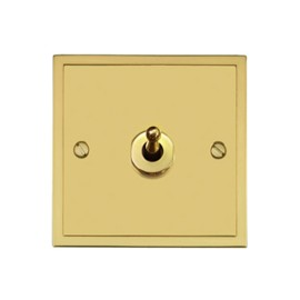 1 Gang 2 Way 20A Dolly Switch in Polished Brass Plate and Dolly, Elite Stepped Flat Plate
