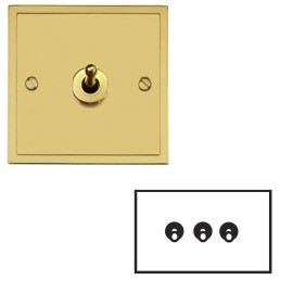 3 Gang 2 Way 20A Dolly Switch in Polished Brass Plate and Dolly, Elite Stepped Flat Plate