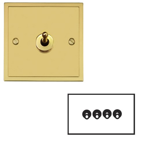 4 Gang 2 Way 20A Dolly Switch in Polished Brass Plate and Dolly, Elite Stepped Flat Plate