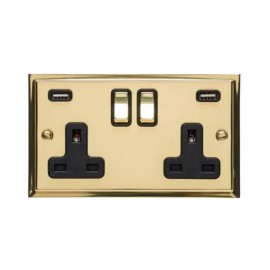 2 Gang 13A Socket with 2 USB Sockets Elite Stepped Flat Polished Brass Plate and Rockers with Black Plastic Insert