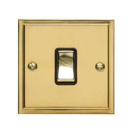 1 Gang 20A Double Pole Switch in Polished Brass and Black Trim Elite Stepped Flat Plate