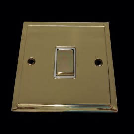 1 Gang 2 Way 10A Rocker Switch in Polished Brass and White Trim Elite Stepped Flat Plate