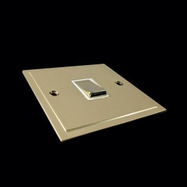 1 Gang 20A Double Pole Switch in Polished Brass and White Trim Elite Stepped Flat Plate