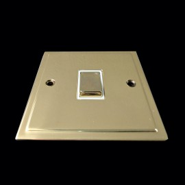 1 Gang Intermediate 10A Rocker Switch in Polished Brass and White Trim Elite Stepped Flat Plate