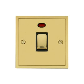 1 Gang 20A Double Pole Switch with Neon in Polished Brass and Black Trim Elite Stepped Flat Plate