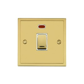 1 Gang 20A Double Pole Switch with Neon in Polished Brass and White Trim Elite Stepped Flat Plate