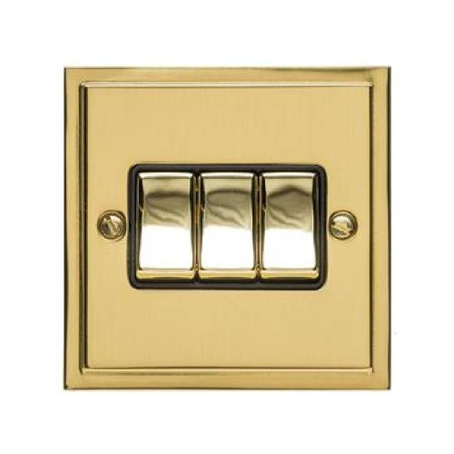 3 Gang 2 Way 10A Rocker Switch in Polished Brass and Black Trim Elite Stepped Flat Plate