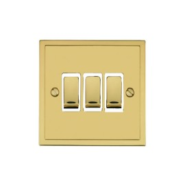 3 Gang 2 Way 10A Rocker Switch in Polished Brass and White Trim Elite Stepped Flat Plate
