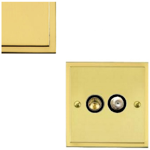 TV / Satellite Socket in Polished Brass with Black Trim Elite Stepped Flat Plate