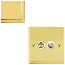 TV / Satellite Socket in Polished Brass with White Trim Elite Stepped Flat Plate