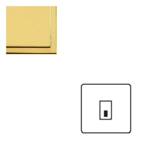 1 Gang RJ45 Data Socket Outlet in Polished Brass with White Trim Elite Stepped Flat Plate