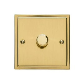1 Gang 2 Way Trailing Edge LED Dimmer 10-120W in Polished Brass, Elite Stepped Flat Plate